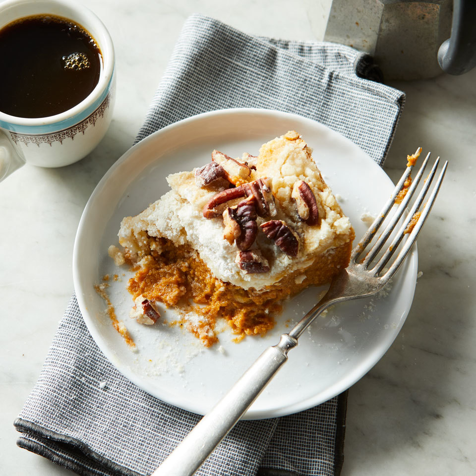 "This pudding-like pumpkin cake has a luscious cream cheese swirl amid the spiced pumpkin layer. Organic cake mix is ""dumped"" on top, then the cake is smothered with butter. Once baked and cooled, the mix forms a sweet and crispy topping."