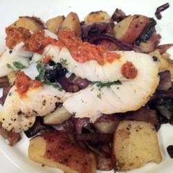 Slashed Sea Bass with Red Onions, Mushrooms, and New Potatoes