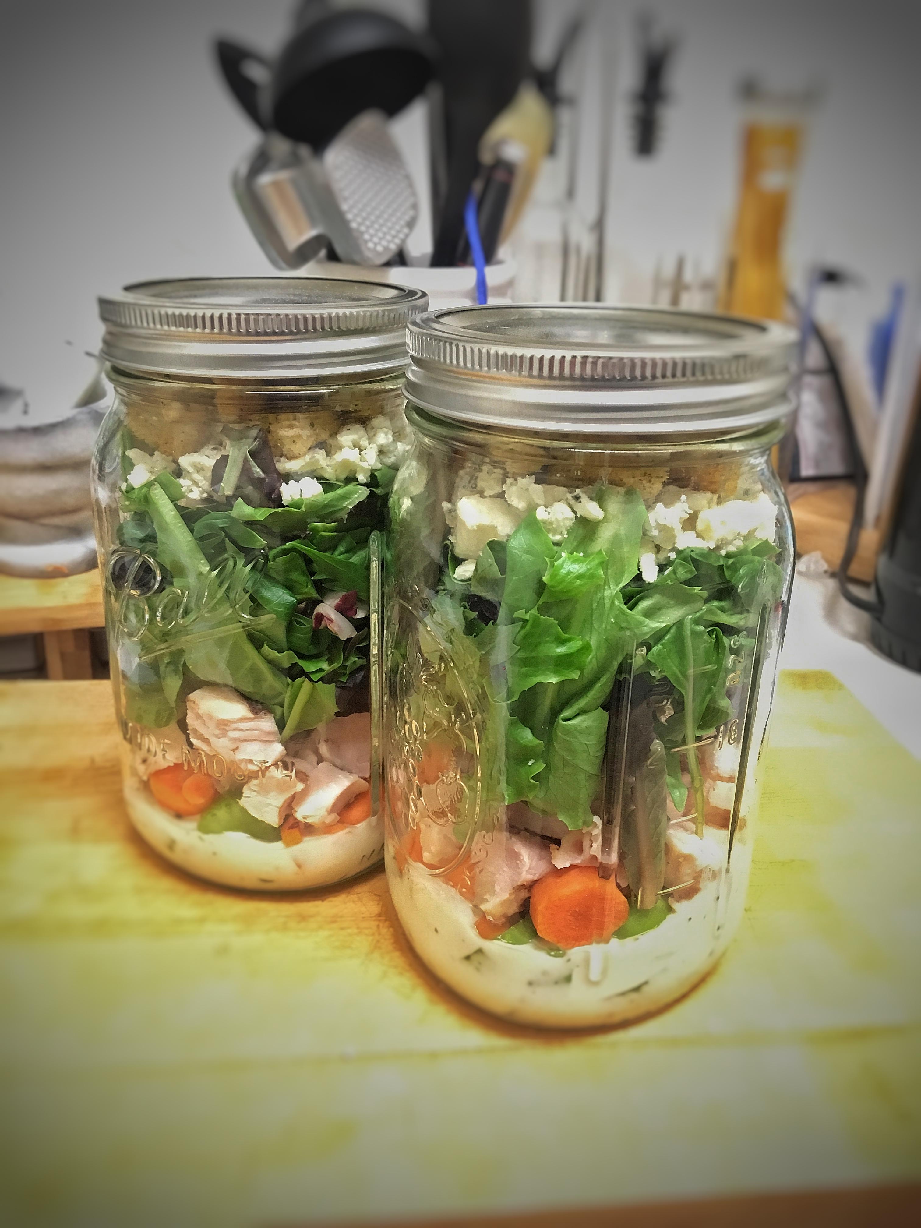 Buffalo Chicken Mason Jar Salads B. Tario