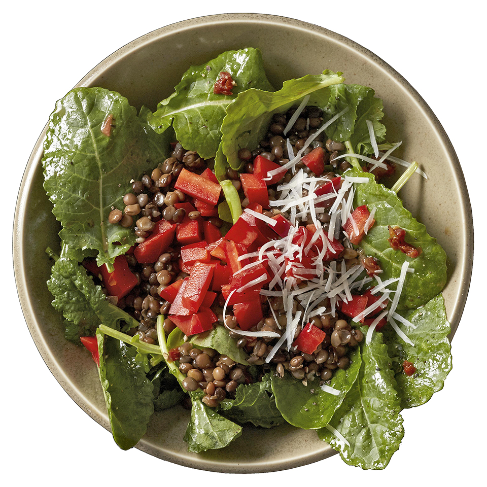The kale and lentils in this Mediterranean-inspired salad recipe are combined with sweet red peppers and a bold garlic and dried tomato vinaigrette. To cut down on prep time, we use refrigerated steamed lentils, but offer instructions on preparing your own.
