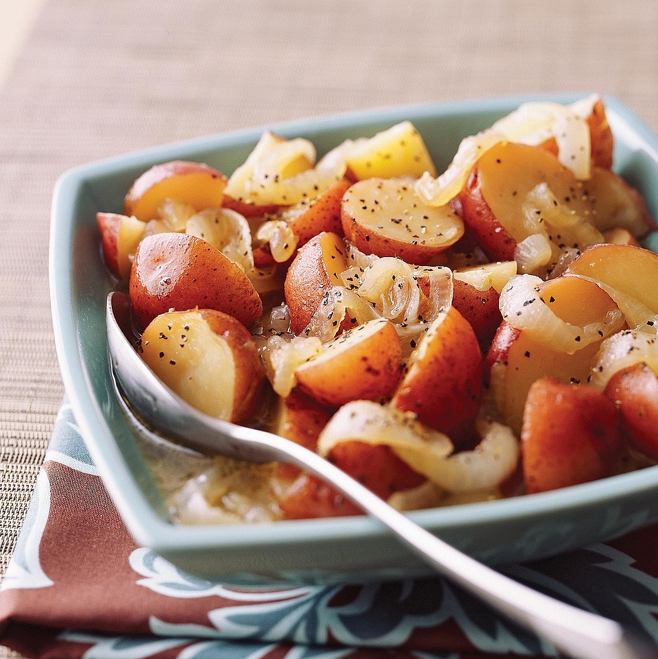 Sweetened with brown sugar and slow cooked, these Caramelized Onions and Potatoes make a perfect flavorful side dish.