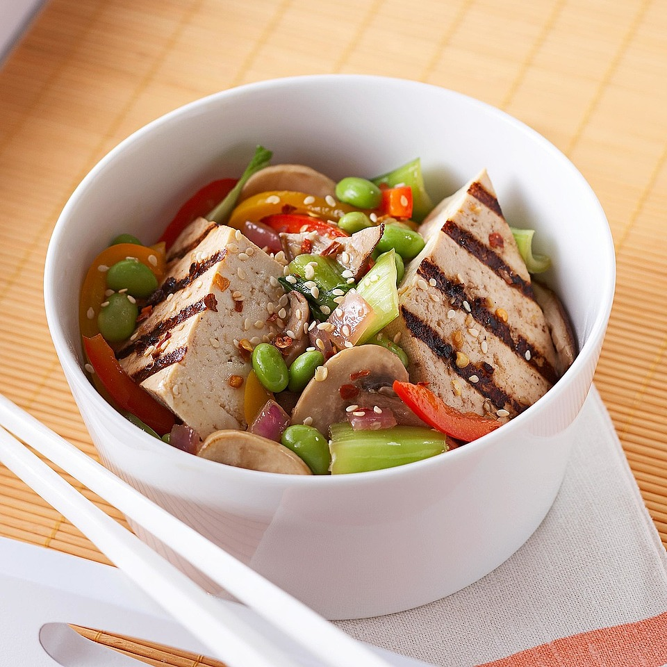 Marinated Tofu with Edamame Stir-Fry