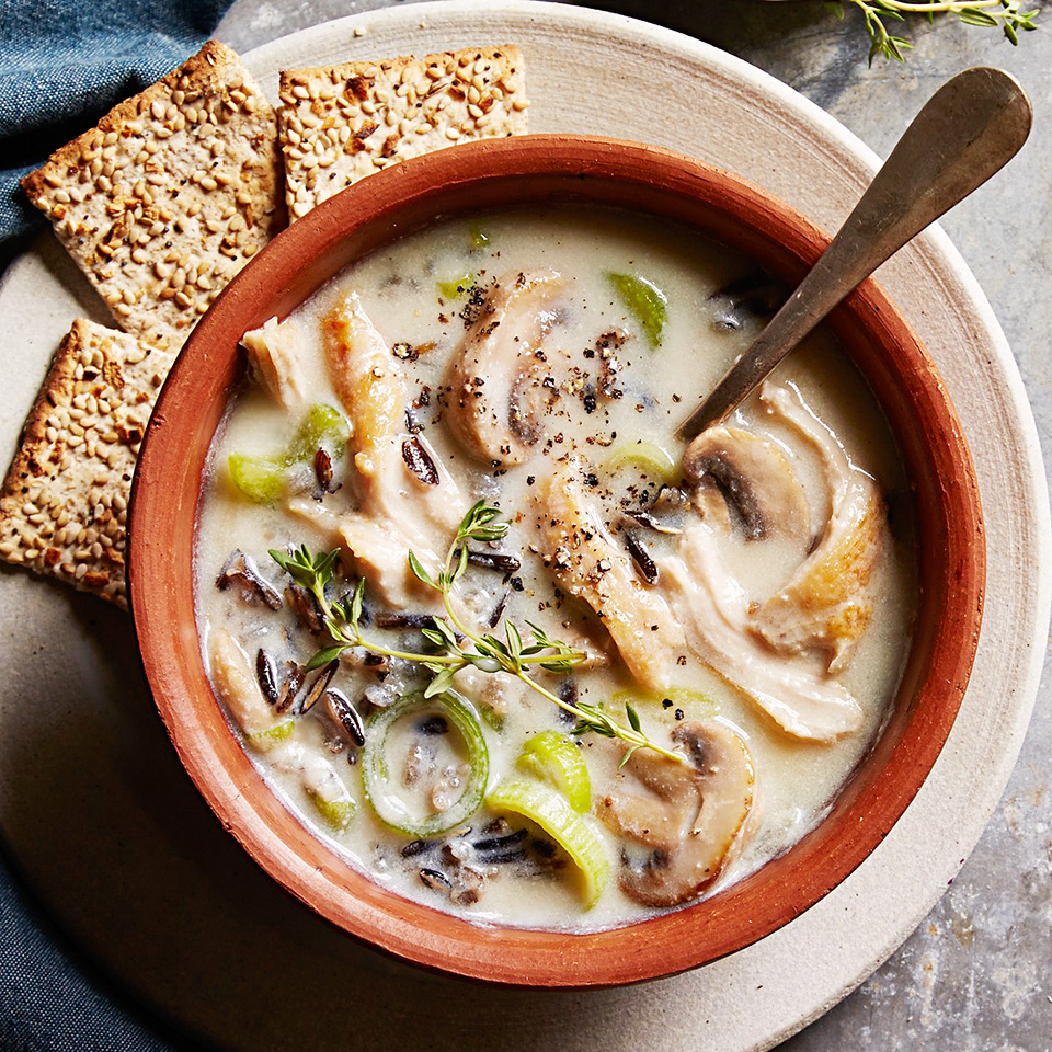 Perfect for dinner on a cold evening, this slow-cooker chicken soup is chock full of mushrooms, leeks, celery and wild rice. It gets its creaminess from a blend of low-fat milk and silken-style tofu.