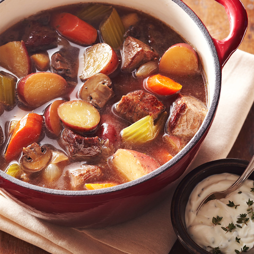 Beef Stew with Garlic-Thyme Sour Cream Diabetic Living Magazine