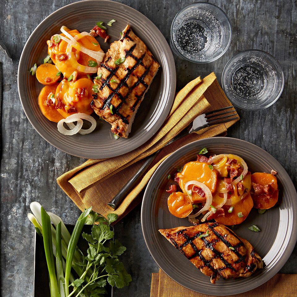 The sweetness in this Maple-Bourbon Chicken recipe is from the real maple syrup and grilled sweet potatoes. Bacon is also included!