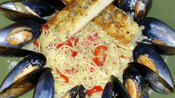 Photo of Angel Hair Pasta with Florida Mussels in White Wine-Butter Sauce by Chef Ashley McClelland