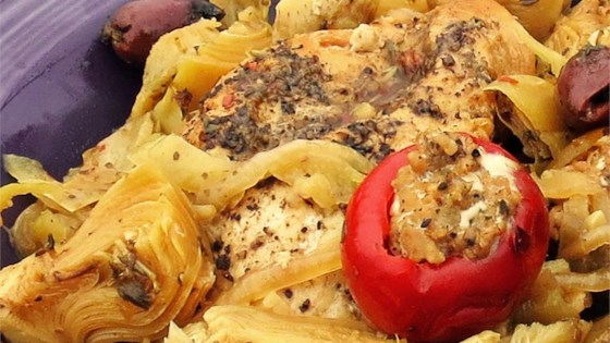 Photo of Spicy Mediterranean Chicken with Sausage-Stuffed Cherry Peppers by Chef John