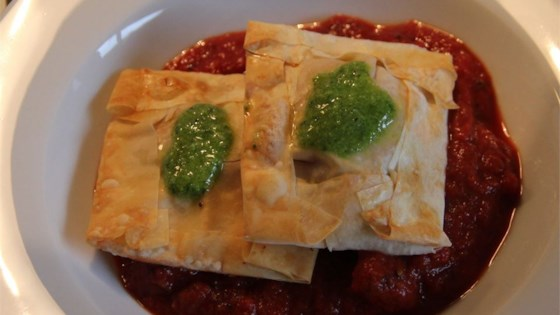 Photo of Sausage and Ricotta Ravioli with Pesto Sauce by foodietx
