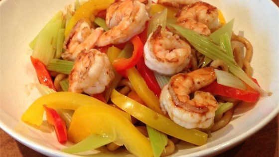 Photo of Prawns and Vegetables Over Pan-Fried Udon Noodles by prochef@home