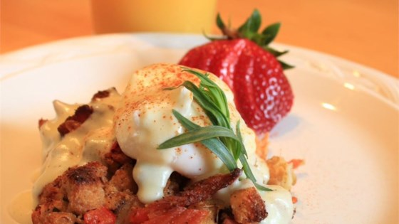 Photo of Savory Bacon and Crab Bread Pudding Eggs Benedict by Chef John