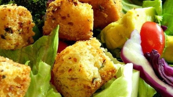 Photo of Garlic-Parmesan Croutons by Heather Moyer