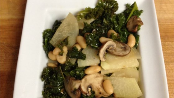 Photo of Kohlrabi, Kale, Mushroom, and Bean Saute by steve&kim