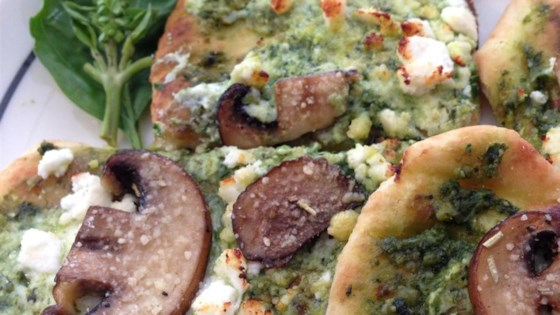 Photo of Basil Pesto and 3-Cheese Naan Pizza by Sugar and Spice
