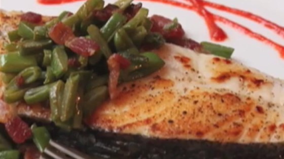 Seared Halibut with Bacon and Bean Relish