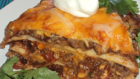 Spicy Beef and Bean Enchilada Pie Recipe