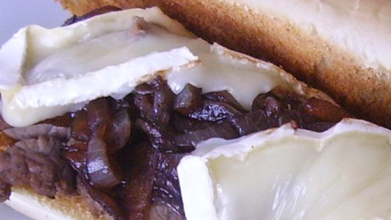 Roast Beef Subs with Balsamic Onions and Brie Cheese
