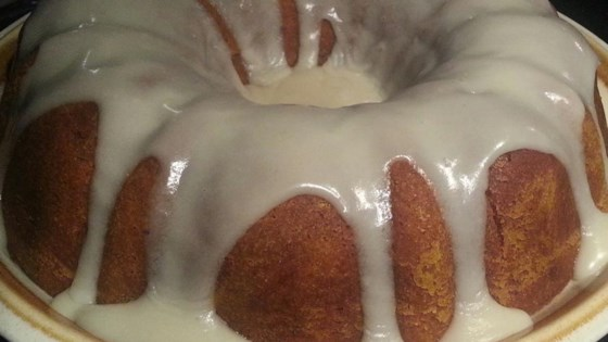 Holiday Pumpkin Cake with Rum-Cream Cheese Glaze