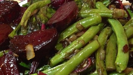 Photo of Beet Greens and Green Beans with Tomato and Onion by Joanna DaCosta