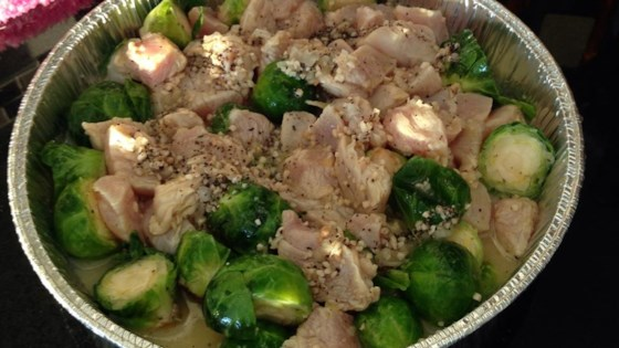 Photo of Baked Chicken & Brussels Sprouts by USA WEEKEND columnist Jean Carper