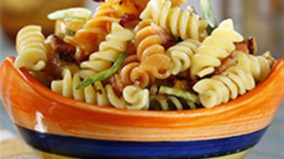Photo of Tri-Color Rotini Pasta Salad with Peaches and Basil by Barilla