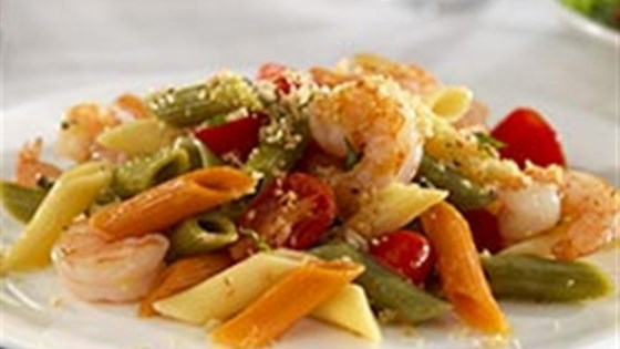 Photo of Tri-Color Penne with Shrimp, Grape Tomatoes and Basil Bread Crumbs Pasta Salad by Barilla