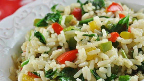 Photo of Sunny Pepper Parmesan Rice with Spinach by krdahmer