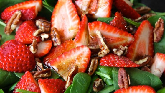 Photo of Strawberry and Spinach Salad with Honey Balsamic Vinaigrette by Shelby Cady