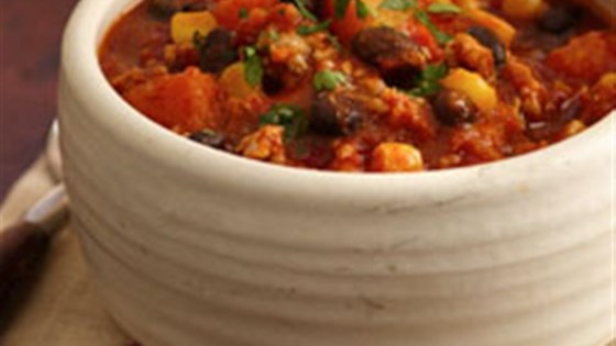 Photo of Tex-Mex Turkey Chili with Black Beans, Corn and Butternut Squash by Mazola