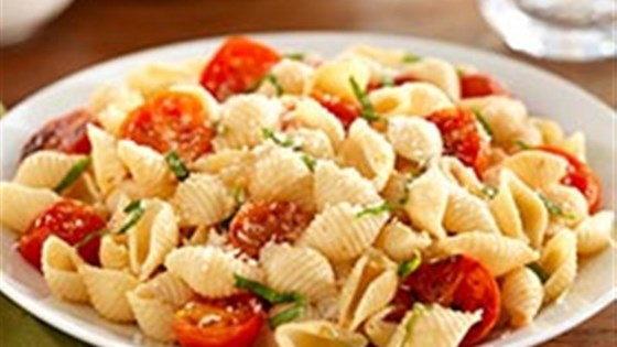 Photo of White Fiber Mini Shells with Cherry Tomatoes, Basil and Parmigiano-Reggiano Cheese by Barilla