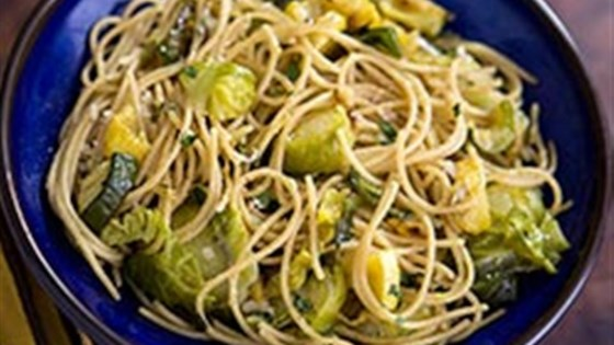 Photo of Whole Grain Thin Spaghetti with Brussels Sprouts, Zucchini and Yellow Squash by Barilla