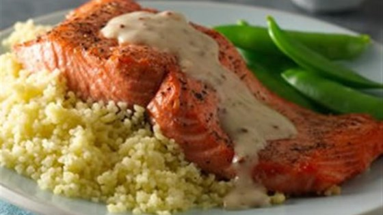Photo of Grilled Salmon with Roasted Garlic Sauce by Progresso™ Recipe Starters™