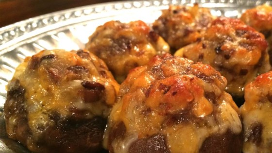 Photo of Bacon and Cheddar Stuffed Mushrooms by GRNSTR1PE