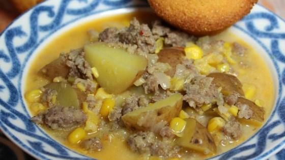 Quick Spicy Sausage Corn Chowder