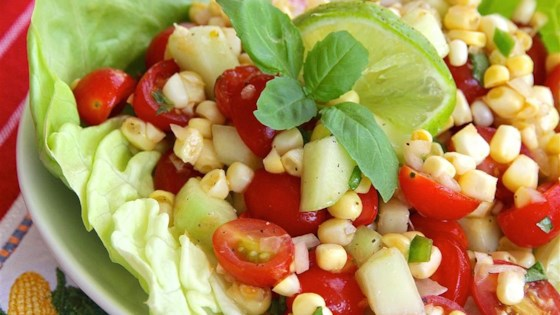 Photo of Easy Cherry Tomato Corn Salad by cookbookangie