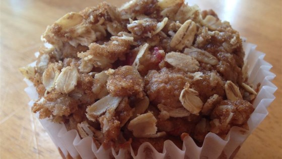 Photo of Rhubarb Crisp Muffins by chewieplustwo