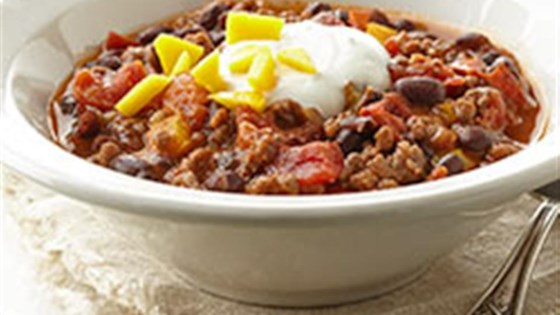 Photo of Beef and Black Bean Chili with Lime Crema by Voskos
