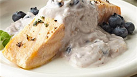 Greek Salmon with Blueberry Tzatziki