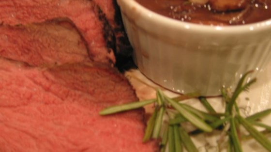 Photo of Boneless Garlic and Rosemary Rubbed Prime Rib with Red Wine Mushroom Sauce by USA WEEKEND columnist Pam Anderson
