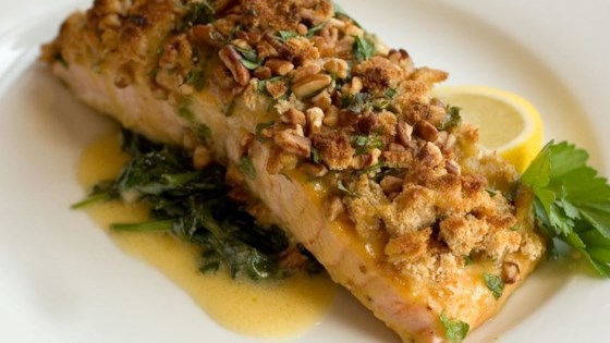 Alaska Salmon Bake With Pecan Crunch Coating Recipe Allrecipes Com