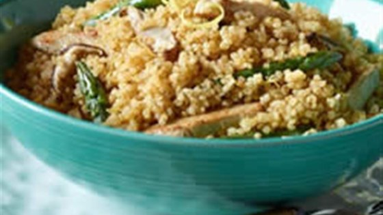 Photo of Quinoa with Asparagus, Shiitake, Mushrooms and Veggie Tenders by Yves Veggie Cuisine
