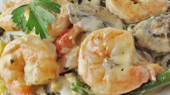 Shrimp and Mushroom Linguini with Creamy Cheese Herb Sauce Recipe
