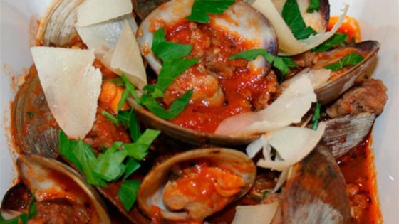 Photo of Clams and Sausage in Spicy Marinara with Crostini by Ms. Chef Esh