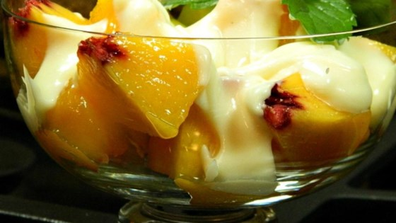 Fresh Peaches with Honey-Vanilla Creme Fraiche Recipe