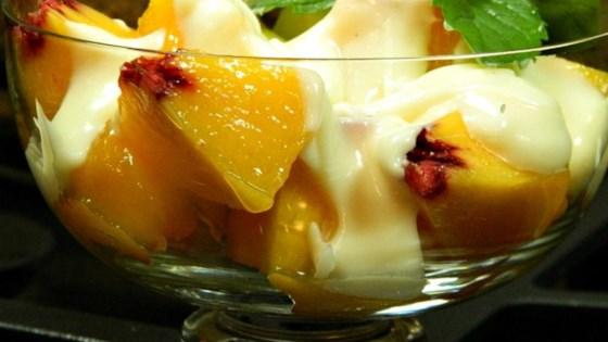 Photo of Fresh Peaches with Honey-Vanilla Creme Fraiche by Cherish