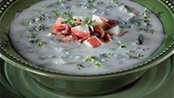 Photo of Creamy and Crunchy Potato Soup by Diamond Crystal Salt