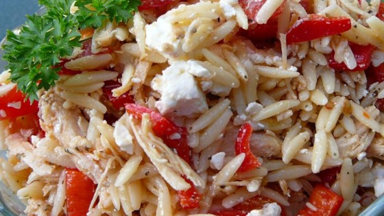 Photo of Mediterranean Chicken and Orzo Salad In Red Pepper Cups by geranium