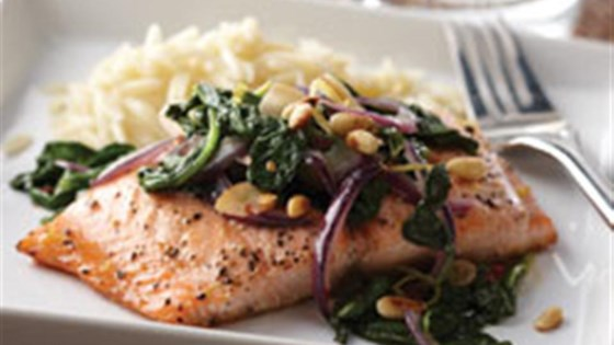 Photo of Honey Lemon Glazed Salmon with Spinach Saute by Mazola