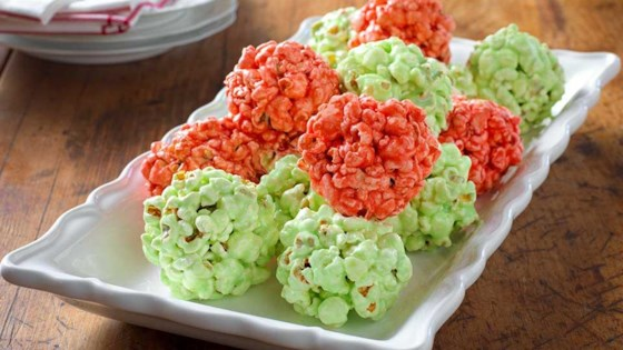 Photo of Festive JELL-O Popcorn Balls by Kraft