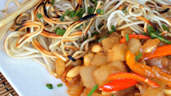 Photo of Crispy Chinese Noodles with Eggplant and Peanuts by Jen