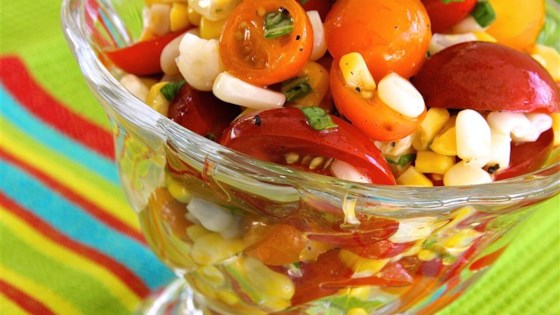Photo of Tomato, Basil, and Corn Salad with Apple Cider Dressing by Pina